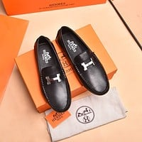 HERMES Men Fashion Boots fashionable Casual leather Breathable Sneakers Running Shoes 0415cx