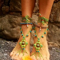 Trendy Sandals for Beach,Home, - BAREFOOT Green Sandals