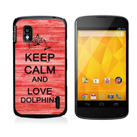 Keep Calm And Love Dolphins 4Red-Wood Google Nexus 4 Case - For Nexus 4