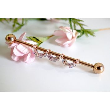 14 Gauge or 16 Gauge Rosy Scallop Industrial Barbell Silver, Gold, Black or Rose Gold