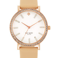 Kate Spade New York Ladies Metro Pave and Vachetta Leather Watch