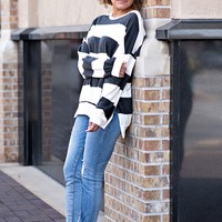 What I Crave Striped Top : Black/White