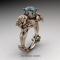 Nature Inspired 14K Rose Gold 1.0 Ct Blue Topaz Rose Petal Solitaire Ring R317S-14KRGBT