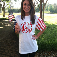 Monogrammed American Flag Short Sleeve T-Shirt | Personalized & Preppy | Marley Lilly