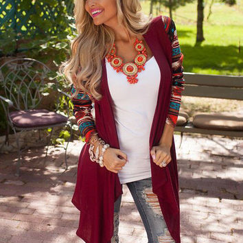 Long Printed Sleeve Asymmetric T-Shirt