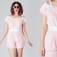 70s Light Pink Waitress Romper / Trimmed Buttoned Back Jumpsuit / 50s Inspired Cut Out Overall