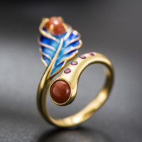 Blue Feather Ethnic Ring