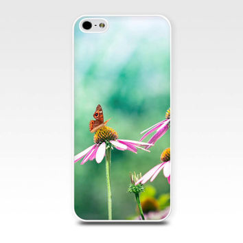 butterfly iphone case iphone 5s iphone 4s case floral iphone spring case fine art iphone case 5 iphone 4 case mint green pink pastel girly