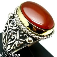 Men's Ring, Turkish Ottoman Style Jewelry, 925 Sterling Silver, Gift, Traditional Handmade, With Agate Stone, US Size 9, New