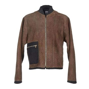 Dolce & Gabbana Brown Gray Leather Jacket Coat