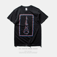 Paris and Tower Print Short Sleeve T-Shirt