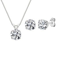 Sterling Silver 3.00 cttw Round Pendant and Earring Set with Swarovski Zircornia