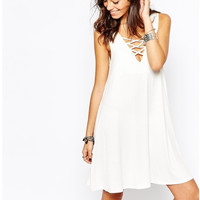 White Strappy V-Neck Sleeveless Mini Dress