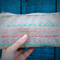Embroidered cosmetic bag, purse, unique gift for your toiletries storage / women's wallet / box for phone