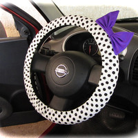 by (CoverWheel) Steering wheel cover for wheel car accessories Polka dot with violet bow