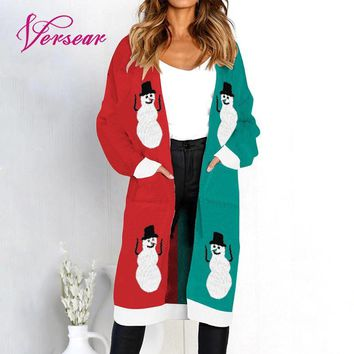 Versear 2018 Winter Long Women Knitted Cardigan Sweater Print Long Sleeve Christmas Sweater Pocket Autumn Jumper Knit Sweater