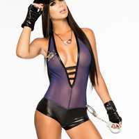 Purple Sheer with Leather Accent Bodysuit Police Costume