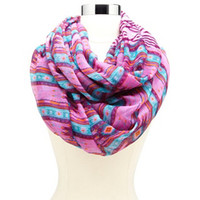 STRIPED AZTEC PRINTED INFINITY SCARF