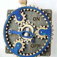 Blue Gray Planetary Gear Light Switch Plate