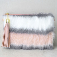 Go Fur It White and Pink Faux Fur Clutch
