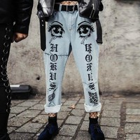 Printed jeans female street hipsters slim low waist white nine straight pants