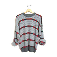 slouchy grey sweater oversized vintage loose knit striped pullover red white gray boyfriend 80s sweater preppy grunge knit medium large