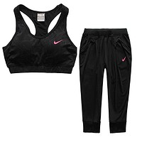 Trendsetter NIKE Gym Sport Yoga Embroidery Top Cami  Set Two-Piece Sportswear