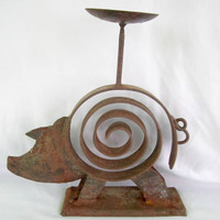 Candle Holder Rusty Pig Metal Accessory Rustic Farm Animals Farmhouse Made in India