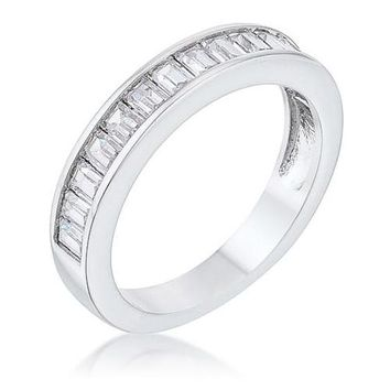 Baguette Cut Cubic Zirconia Rhodium Wedding Band