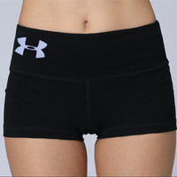 Under Armor Solid Color Embroidery Gym Yoga Sports Running Shorts