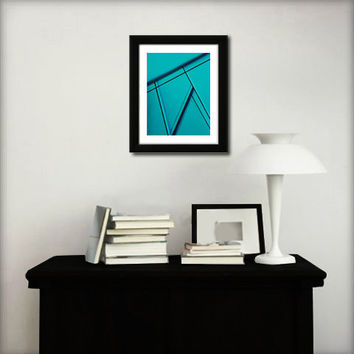 Abstract art print. Geometric print from original painting with turquoise blue.