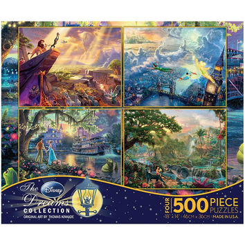Ceaco Kinkade Disney 4 Puzzle Pack - Lion King Jungle Book & More