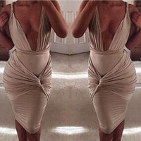 Sleeveless Deep V-neck Ruched Bodycon Midi Dress