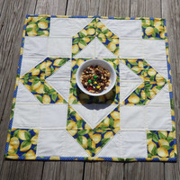 Quilted Table Topper, Patchwork Quilted Table Topper, Tossed Lemons, Summer theme