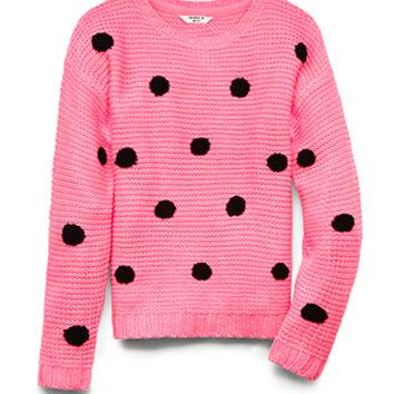 FOREVER 21 GIRLS Sweet Polka Dots Sweater (Kids) Neon Pink/Black Small