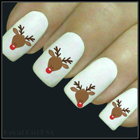Christmas Nail Decal Reindeer Nail Art 20 Water Slide Decals Stocking Stuffer Nail Tattoos Nail Transfers