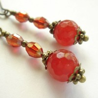 Nostaligic Red Gemstone and Crystals Antique Style Earrings - Handmade Crafts by Enchanting Jewel