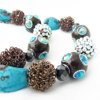 Chocolate and Turquoise Curtain Tiebacks, Flashy Turquoise and Brown Curtain Pullbacks, Window Bling