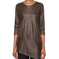 3/4-Sleeve Distressed Faux-Suede Tunic, Women's, Size:
