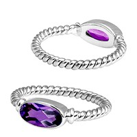 """SR-5362-AM-6"""" Sterling Silver Ring With Amethyst"""