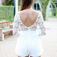 TRUE LOVE PLAYSUIT , DRESSES, TOPS, BOTTOMS, JACKETS & JUMPERS, ACCESSORIES, 50% OFF , PRE ORDER, NEW ARRIVALS, PLAYSUIT, COLOUR, GIFT VOUCHER,,White,LACE,SHORT SLEEVE Australia, Queensland, Brisbane