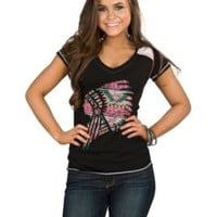 Panhandle Women's Black Knit with Indian Chief Short Sleeve Tee