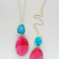 Pink Quartz & Aqua Druzy Necklace