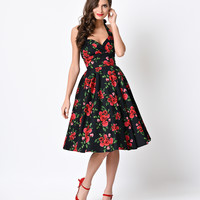 Hell Bunny Retro Rose Floral Halter Cannes Swing Dress