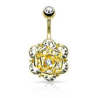 Gold Flower with Gems Belly Ring 14ga 316L Surgical Steel Body Jewelry Navel Ring