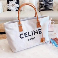 Celine new casual letter logo canvas shopping bag shoulder bag