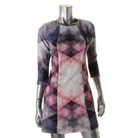 Bar III Womens Printed 3/4 Sleeves Casual Dress