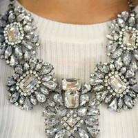 Modern Glass Slipper Glam Statement Necklace