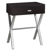 Accent Table - Cappuccino, Chrome Metal Night Stand