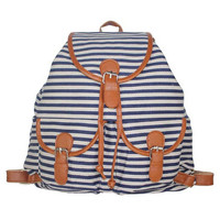 Navy Striped Canvas Backpack Campus School Bookbag